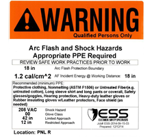 ppe requirements warning label 1.2 cal