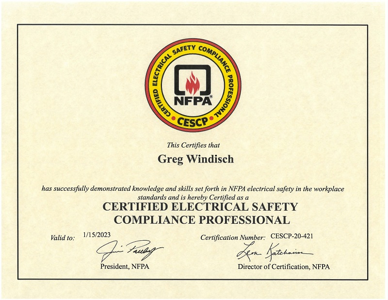 Greg Windisch CESCP Certificate NFPA 70E Arc Flash Training Nationwide By ESS